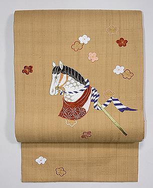 春駒と梅刺繍名古屋帯