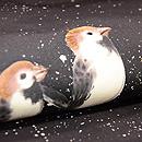 雪中スズメの名古屋帯 質感・風合
