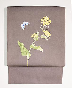 菜の花に蝶  刺繍名古屋帯