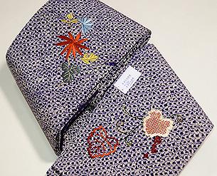 絞りに刺繍の半巾帯