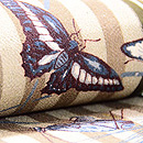 縞に昆虫柄名古屋帯 質感・風合