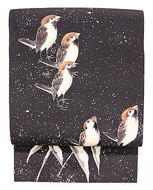雪中雀の名古屋帯