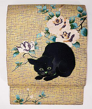 黒猫と白薔薇の刺繍名古屋帯