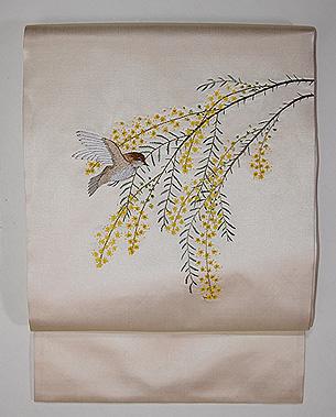 ミモザと小鳥刺繍帯