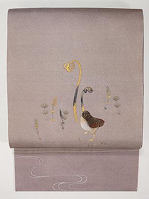 雛鳥につくしとわらび刺繍名古屋帯