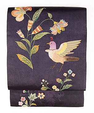 芥子の花と鳥刺繍名古屋帯