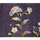 芥子の花と鳥刺繍名古屋帯 前柄