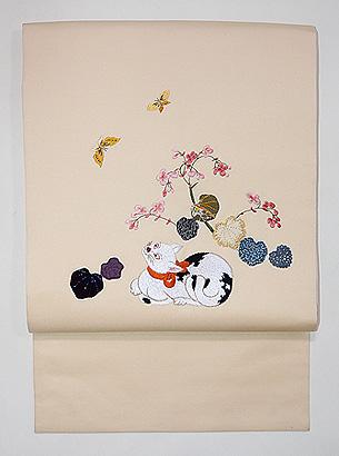 猫ちゃんに秋海棠の名古屋帯