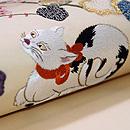 猫ちゃんに秋海棠の名古屋帯 質感・風合