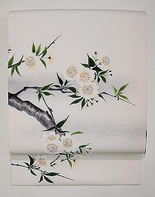 枝桜の図手描き名古屋帯