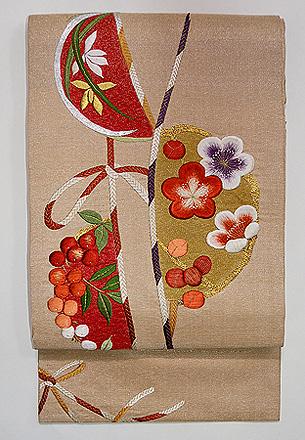 梅と南天の刺繍名古屋帯