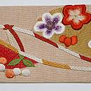 梅と南天の刺繍名古屋帯 前柄