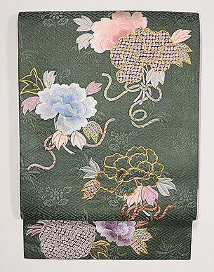 牡丹の刺繍開き名古屋帯