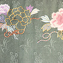 牡丹の刺繍開き名古屋帯 前柄