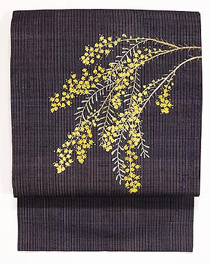 縞の紬にミモザの刺繍名古屋帯