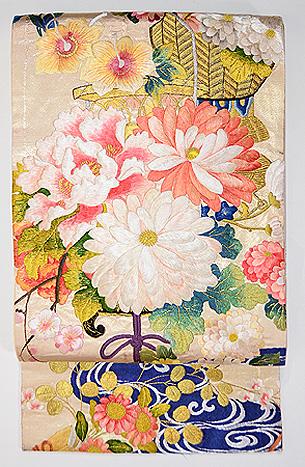 百花繚乱吊り花籠刺繍袋帯