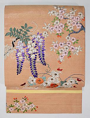 野の四季花々刺繍名古屋帯