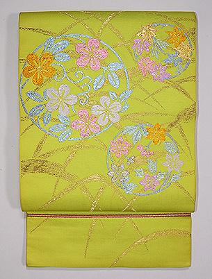たつむら製 「秋草花の丸」袋帯