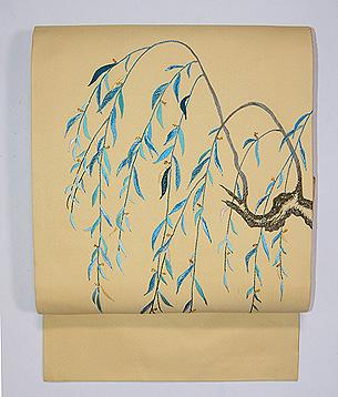 柳の刺繍名古屋帯