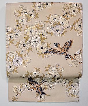 八重桜に雀の図名古屋帯