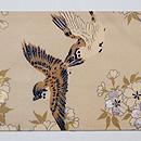 八重桜に雀の図名古屋帯 前柄
