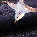 ウグイス一羽の丸帯 質感・風合