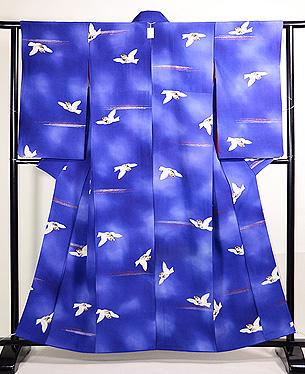 ブルー地群れ雀の小紋