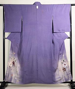 紫苑色アールデコ薔薇文様付下