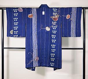 疋田と石畳に双葉葵の絵羽織