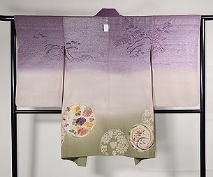 熨斗目風段ぼかしに花丸の絵羽織