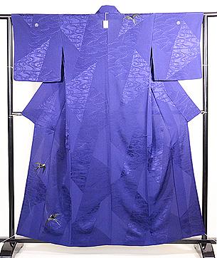 紺地ツバメの刺繍単衣付下
