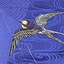 紺地ツバメの刺繍単衣付下 質感・風合