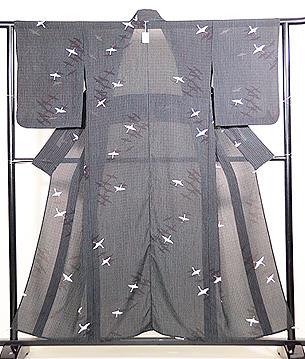 竹縞に群鶴の単衣小紋着物
