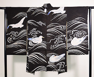 波にカモメの夏絵羽織
