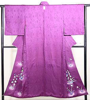 菖蒲色紋錦紗つりがね草訪問着