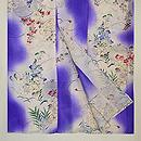 紫暈しに花と虫かごの単衣小紋 上前