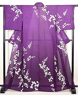 紫地萩の絽地小紋
