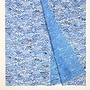 流水に秋の景色文様地白藍型絽地小紋 上前