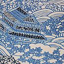 流水に秋の景色文様地白藍型絽地小紋 質感・風合