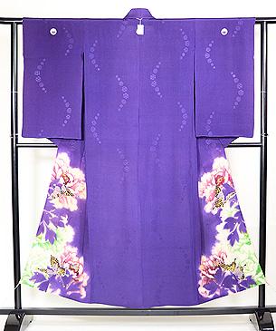 江戸紫に蝶々の単衣付下