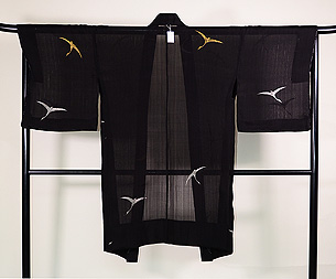 雁の織り出し単衣羽織