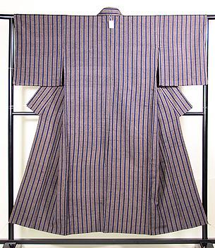 ざざんざ織 縹色縦縞の単衣