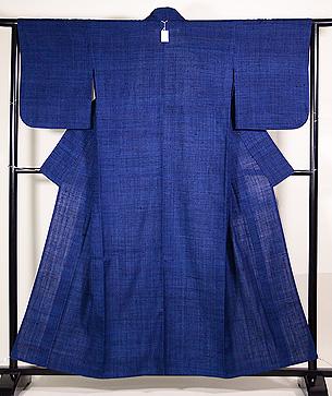 浦野理一作 藍色縦節単衣紬