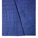 浦野理一作 藍色縦節単衣紬 上前