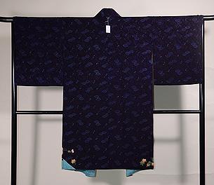 二藍色竜田川の絵羽織
