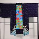 二藍色竜田川の絵羽織 正面