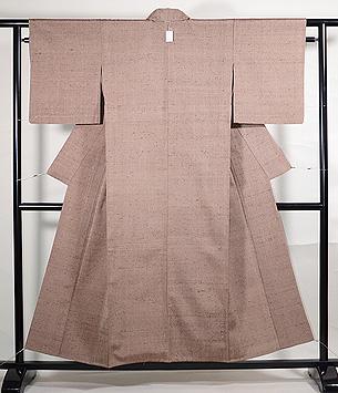 赤茶の伊平衛織単衣