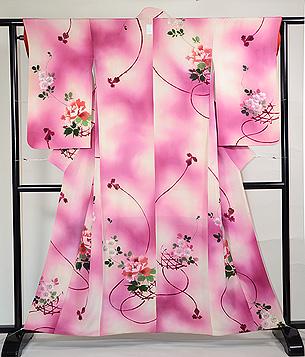 花籠に桜と牡丹の付下