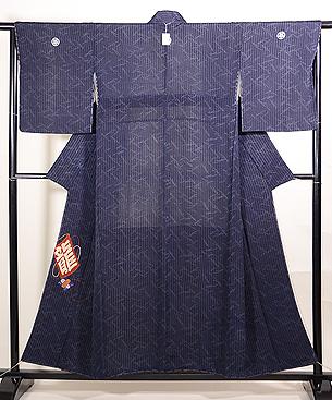 江戸小紋に凧の刺繍付下