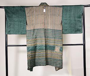 緑のサリーストライプ長羽織